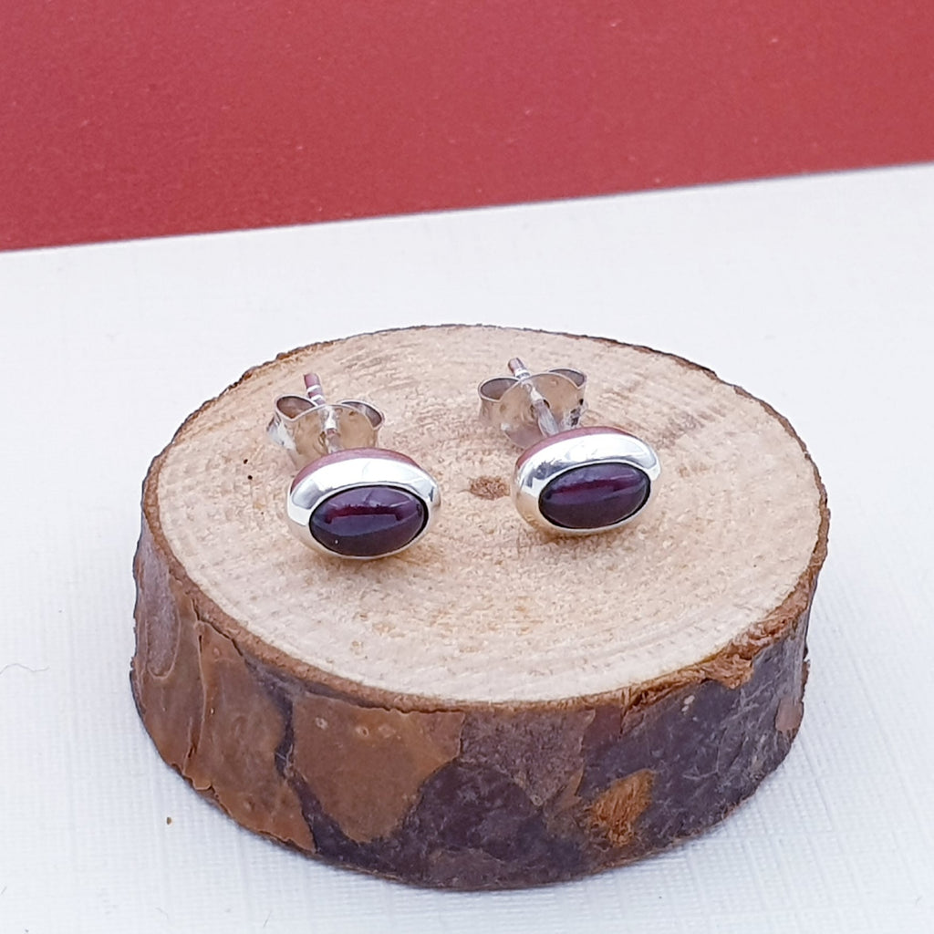 Garnet Small Oval Stud Earrings