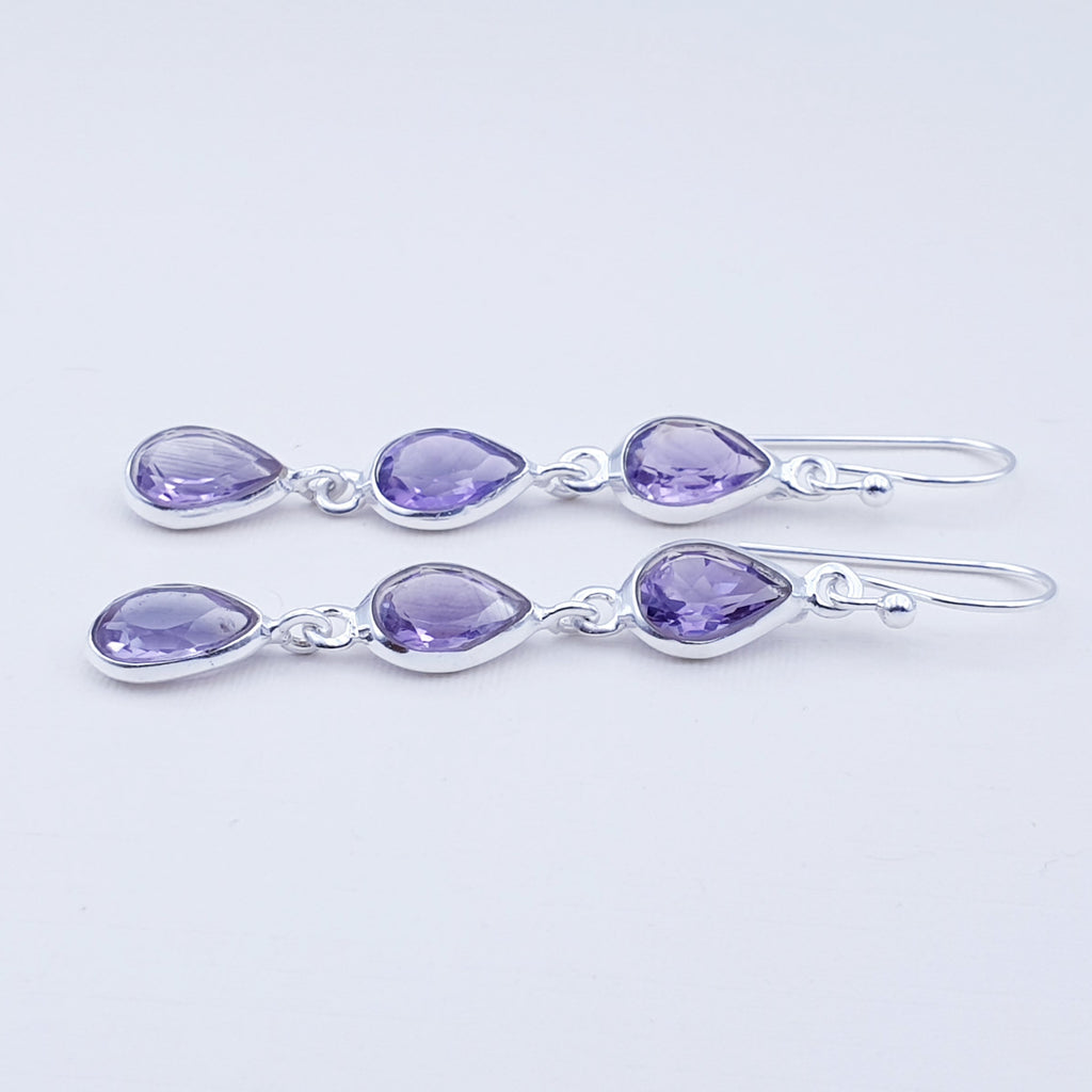 Amethyst Triple Teardrop Earrings