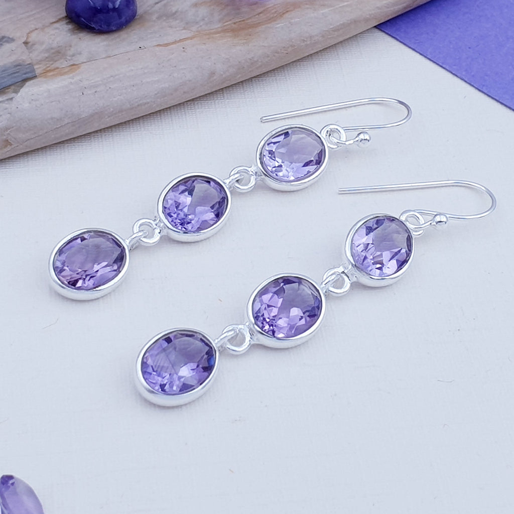 Amethyst Triple Oval Earrings