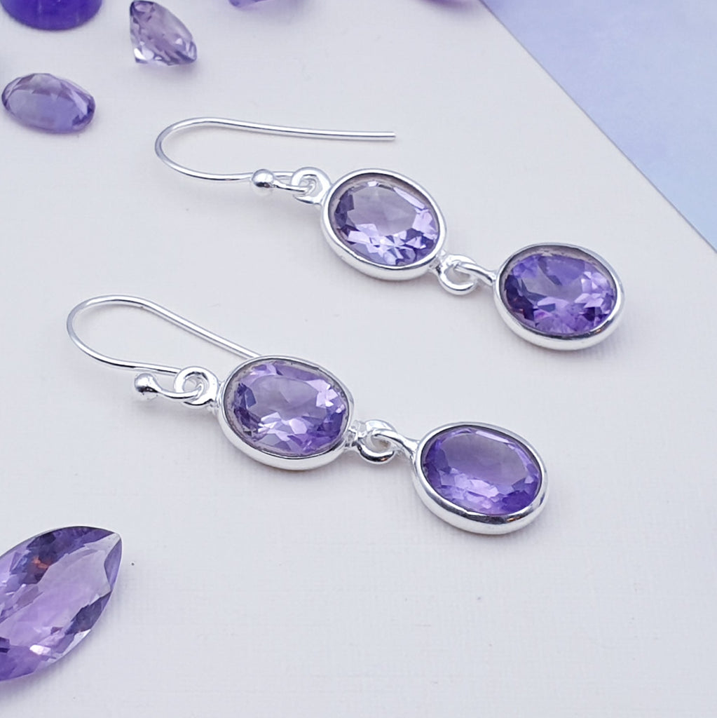 Amethyst Double Oval Earrings