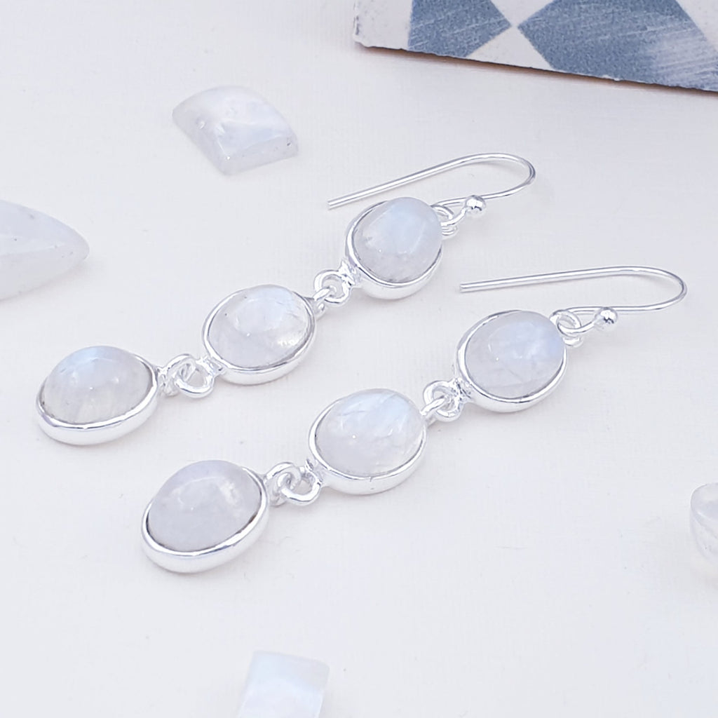 Moonstone Triple Oval Earrings