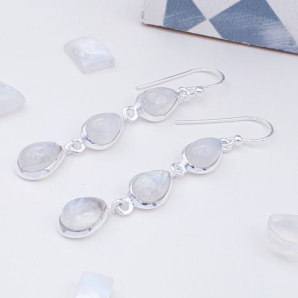 Moonstone Triple Teardrop Earrings