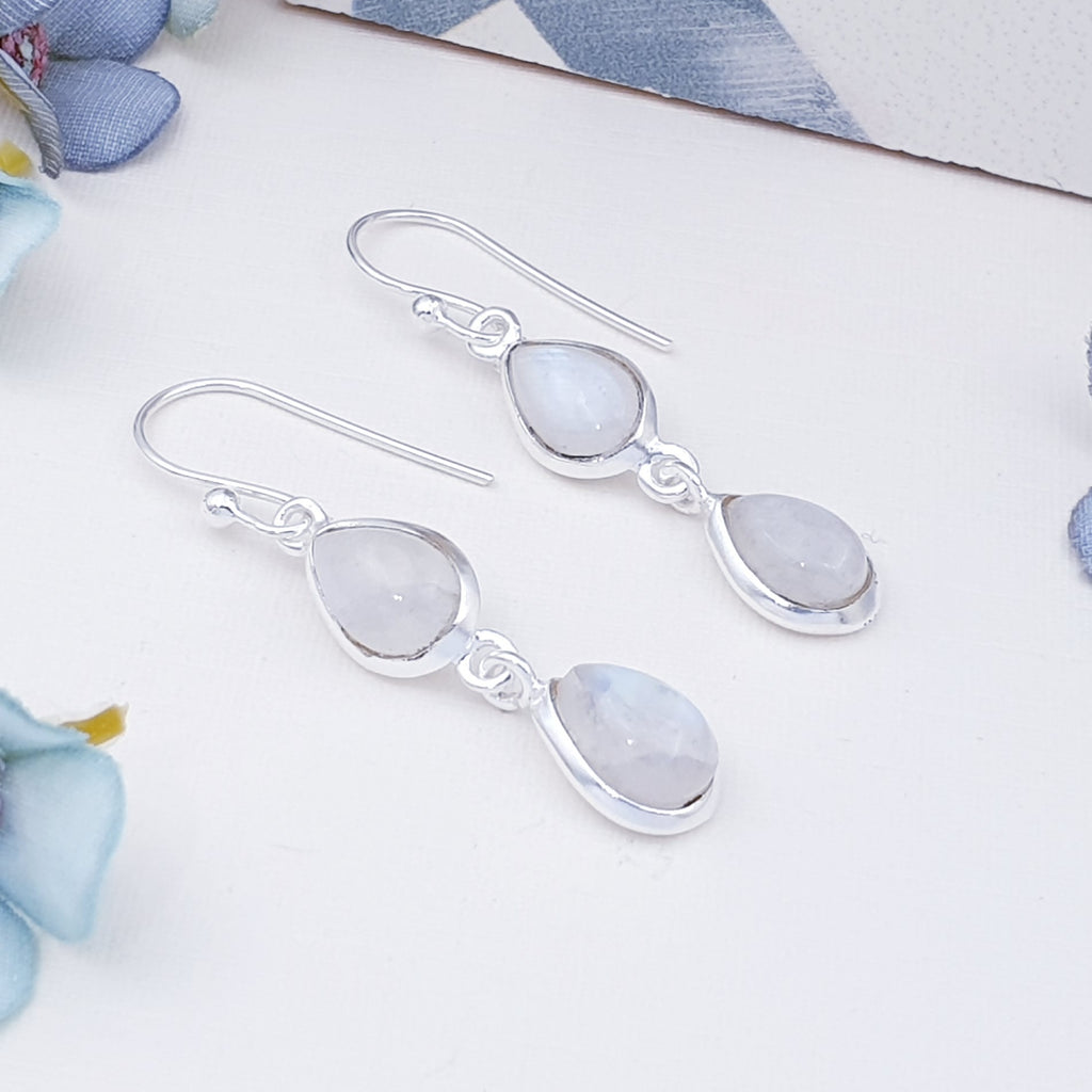 Moonstone Double Teardrop Earrings