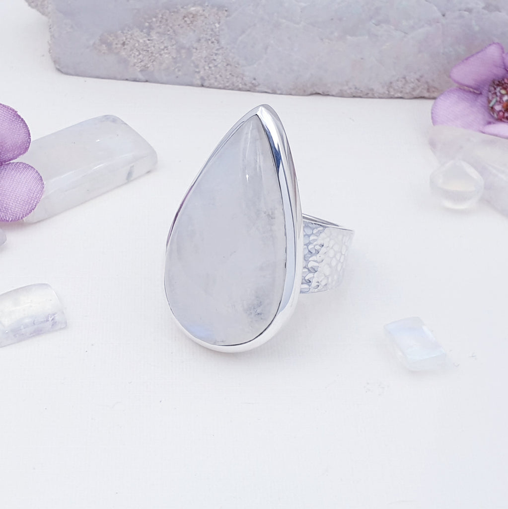 One-off Moonstone Hammered Band Ring - Size T