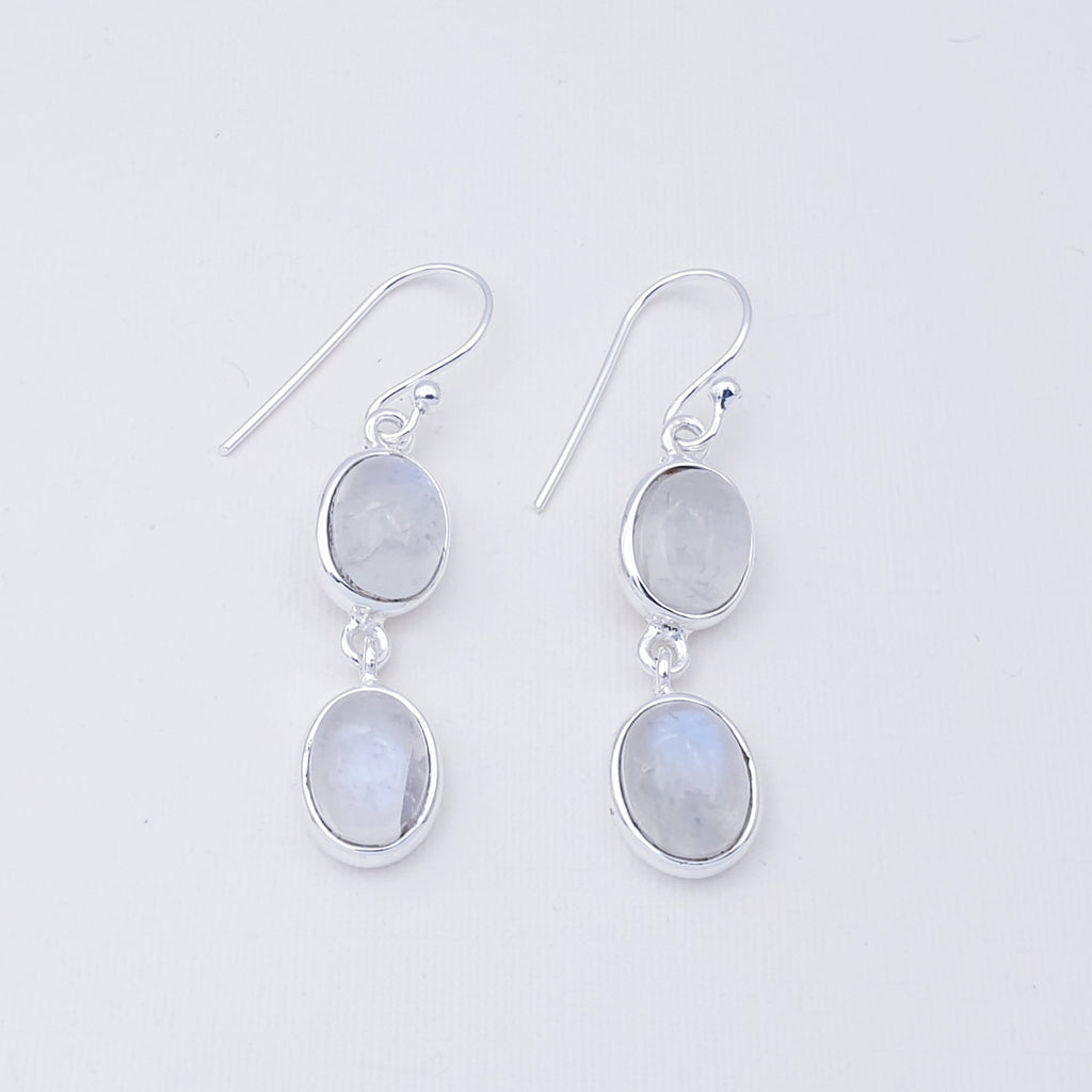 Moonstone Double Oval Earrings