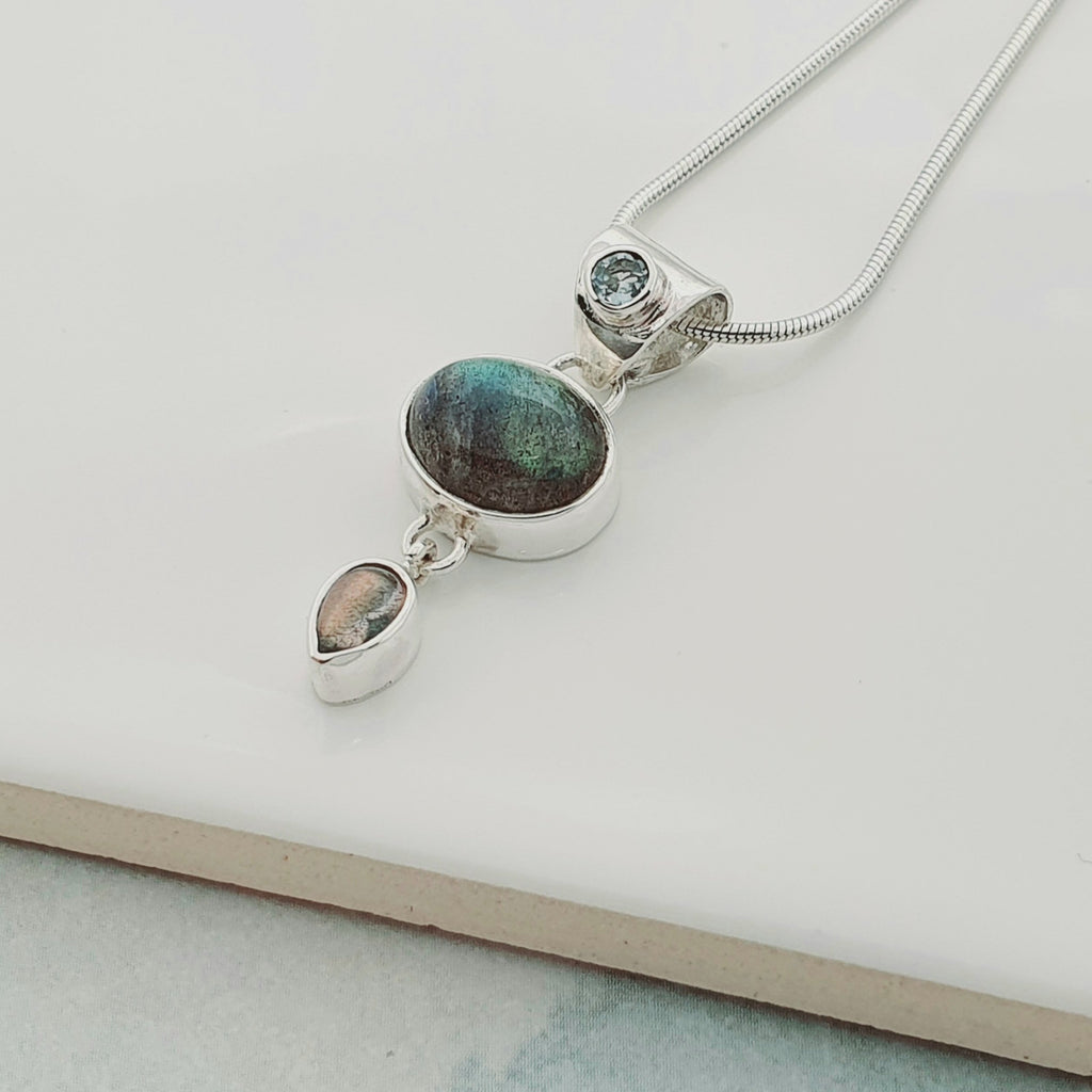 Labradorite and Blue Topaz Lyra Pendant