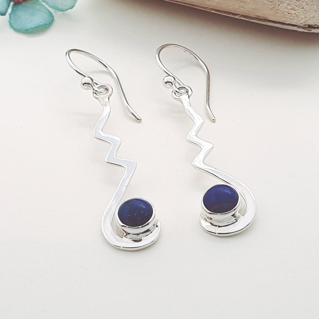 Lapis Lazuli Crinkle Earrings