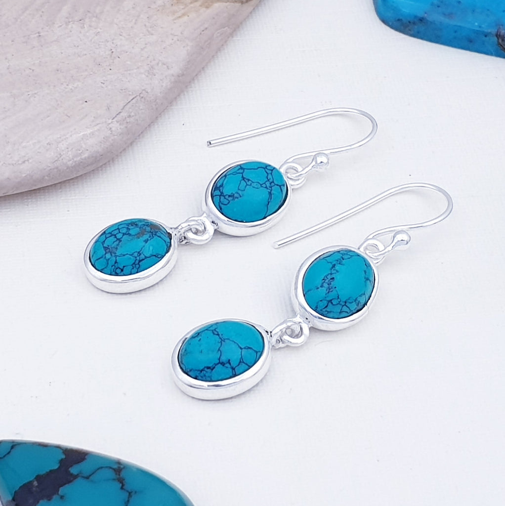 Turquoise Double Oval Earrings
