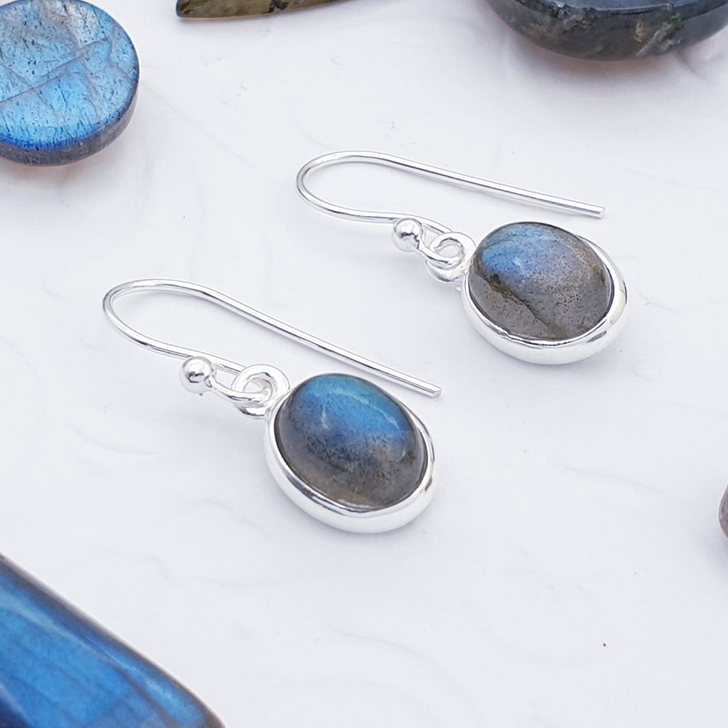 Labradorite Oval Earrings