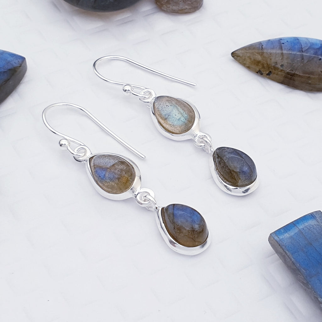 Labradorite Double Teardrop Earrings