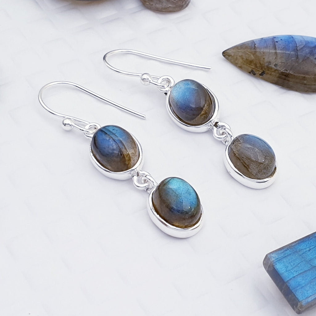 Labradorite Double Oval Earrings