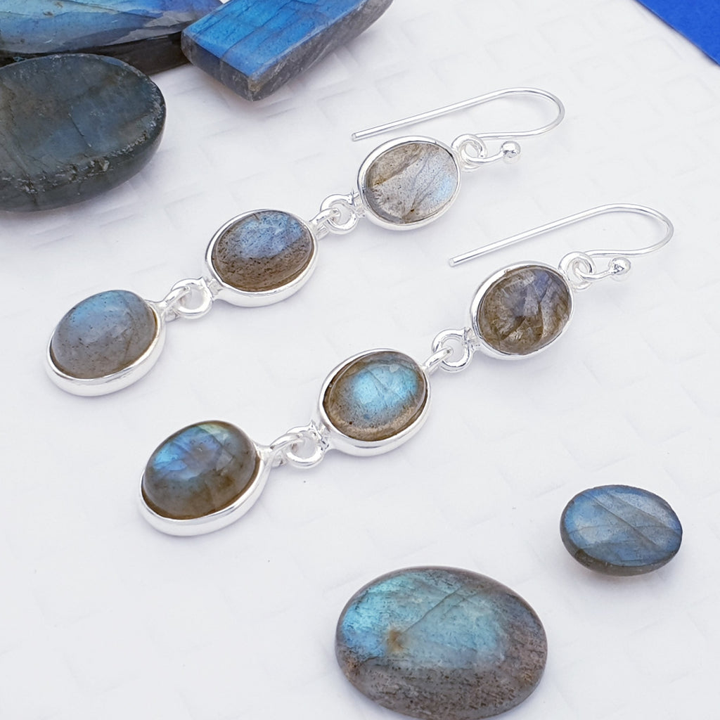 Labradorite Triple Oval Earrings