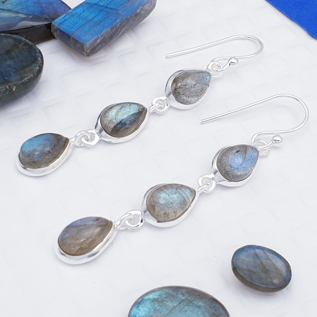 Labradorite Triple Teardrop Earrings