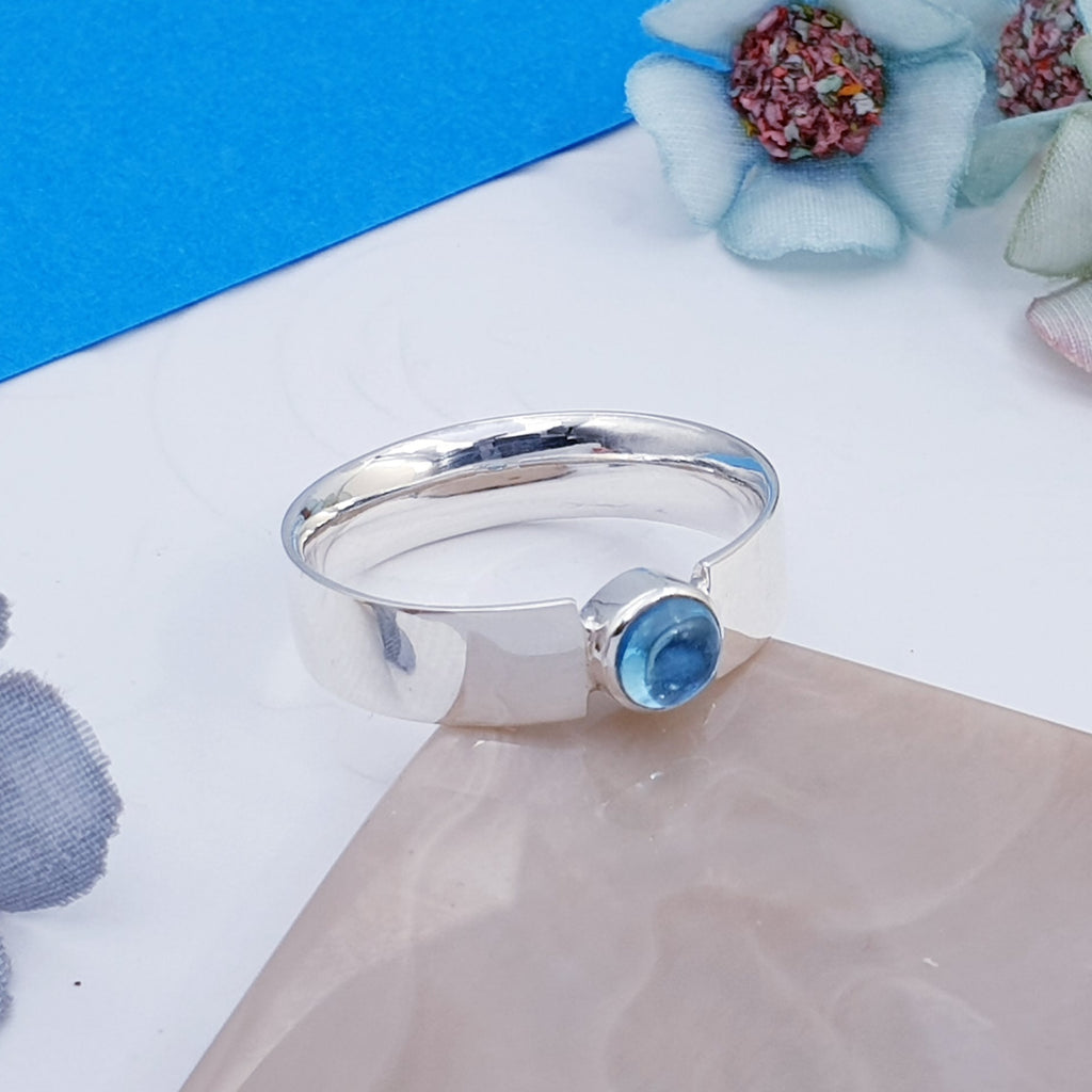 Blue Topaz Simple Flat Band Ring - Cabochon
