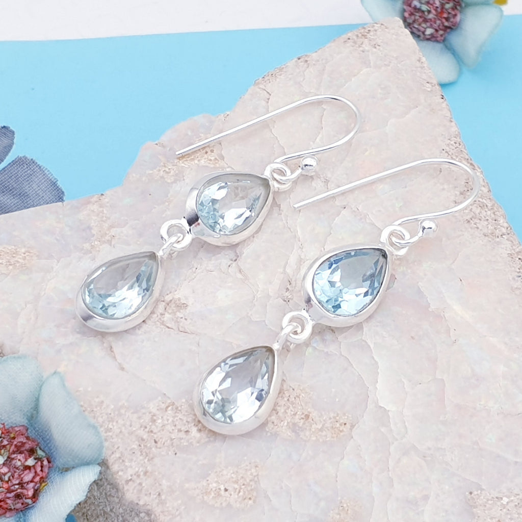 Blue Topaz Double Teardrop Earrings
