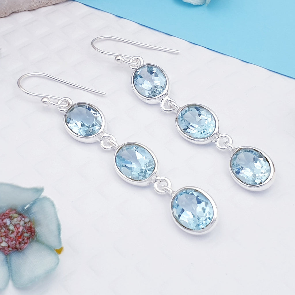 Blue Topaz Triple Oval Earrings