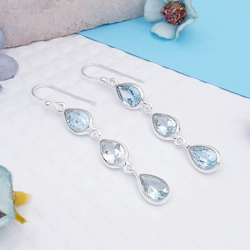 Blue Topaz Triple Teardrop Earrings