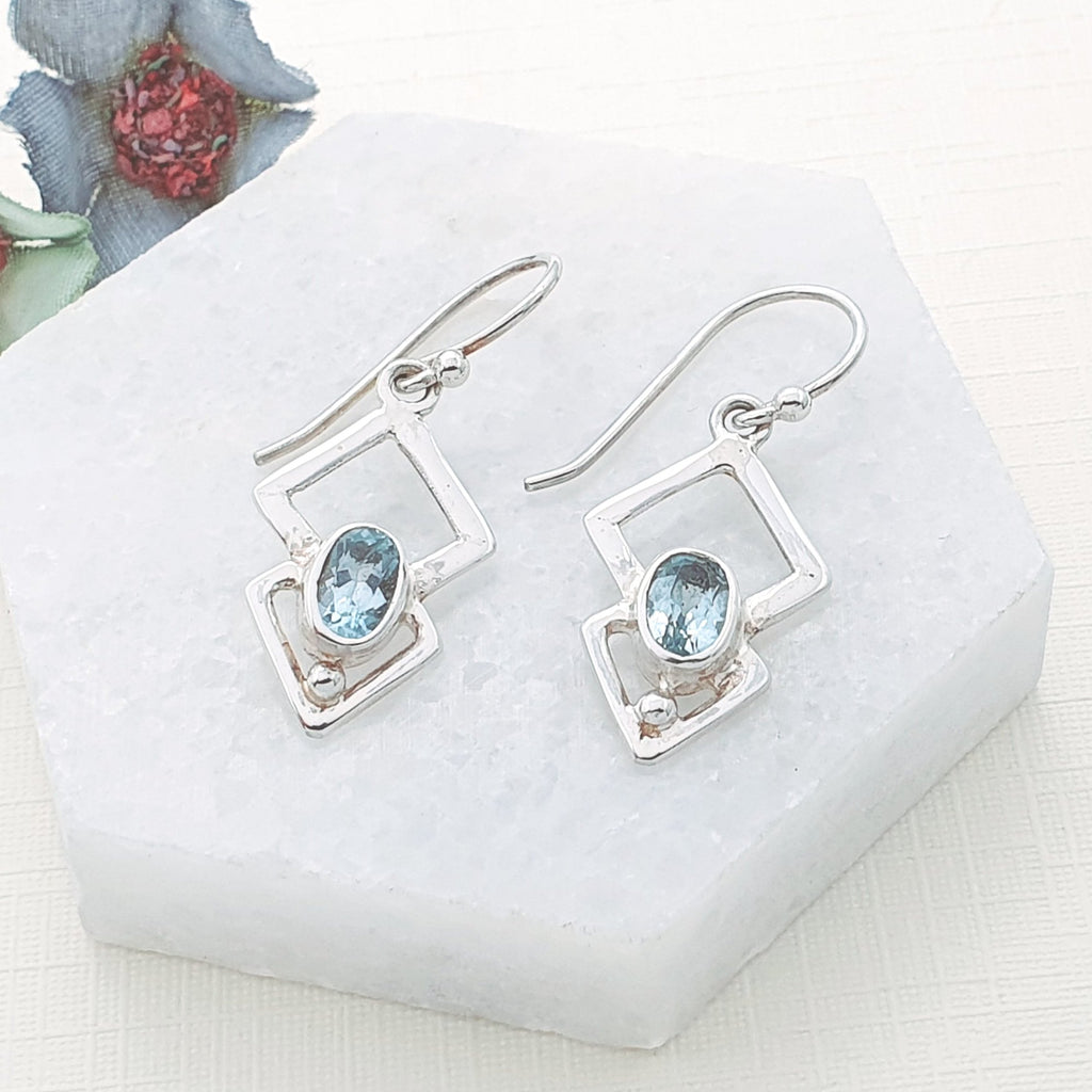 Blue Topaz Triangulum Earrings