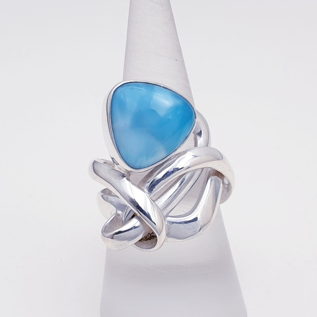 One-off Larimar Knot Ring - Size O 1/2