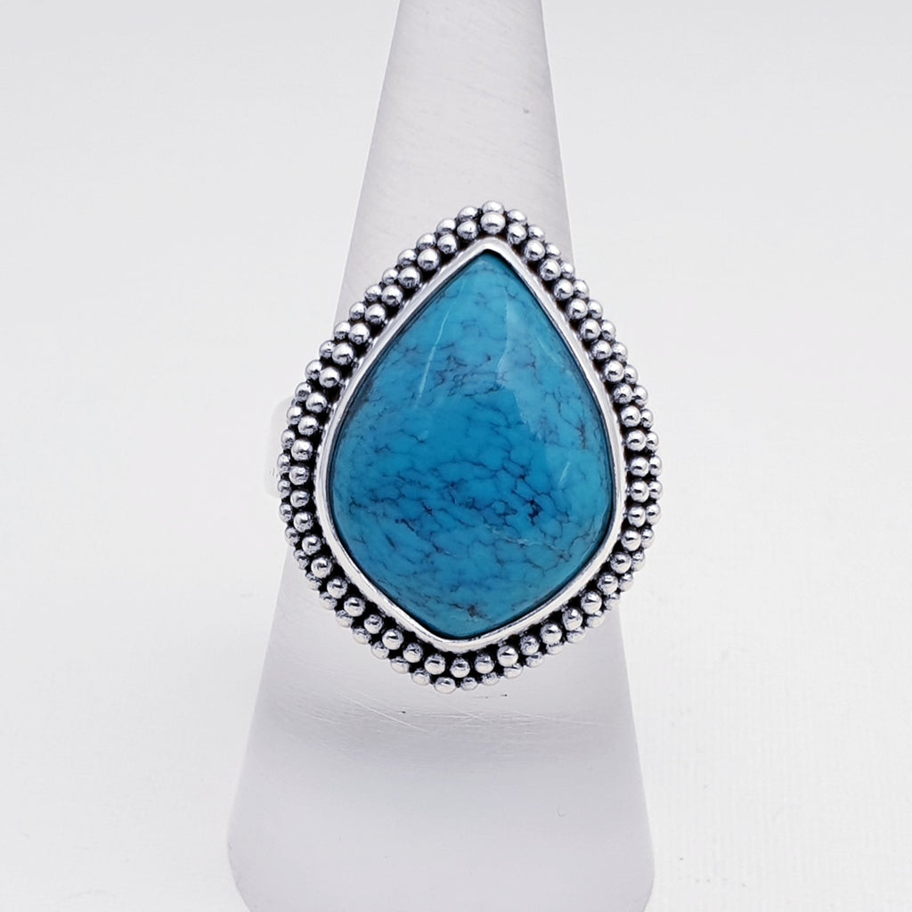 One-off Turquoise Boho Ring - Size O 1/2