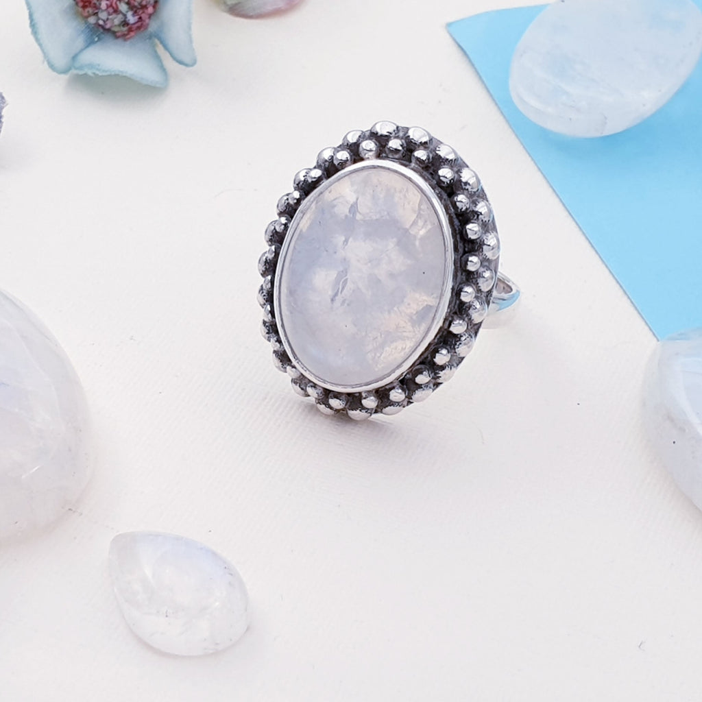 Moonstone Small Oval Boho Ring - Size M