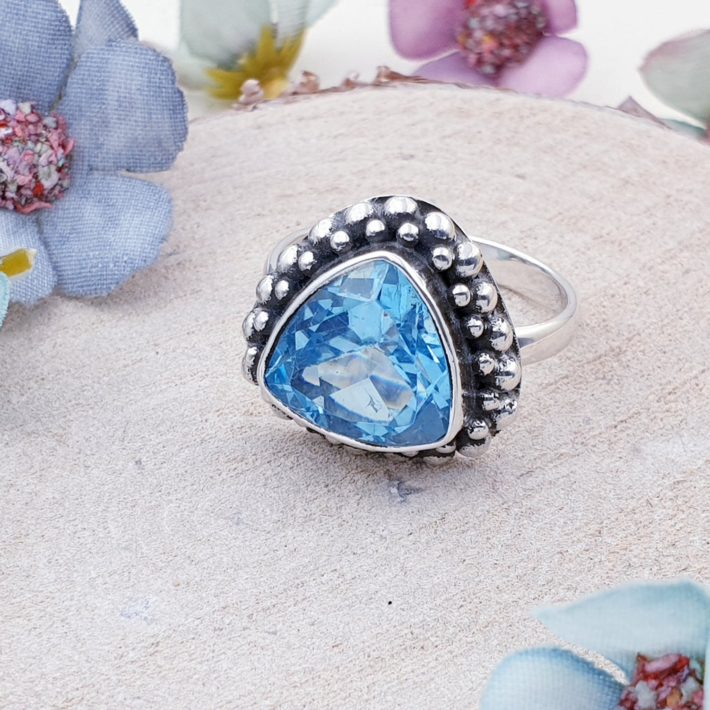 One-off Blue Topaz Boho Ring - Size Q