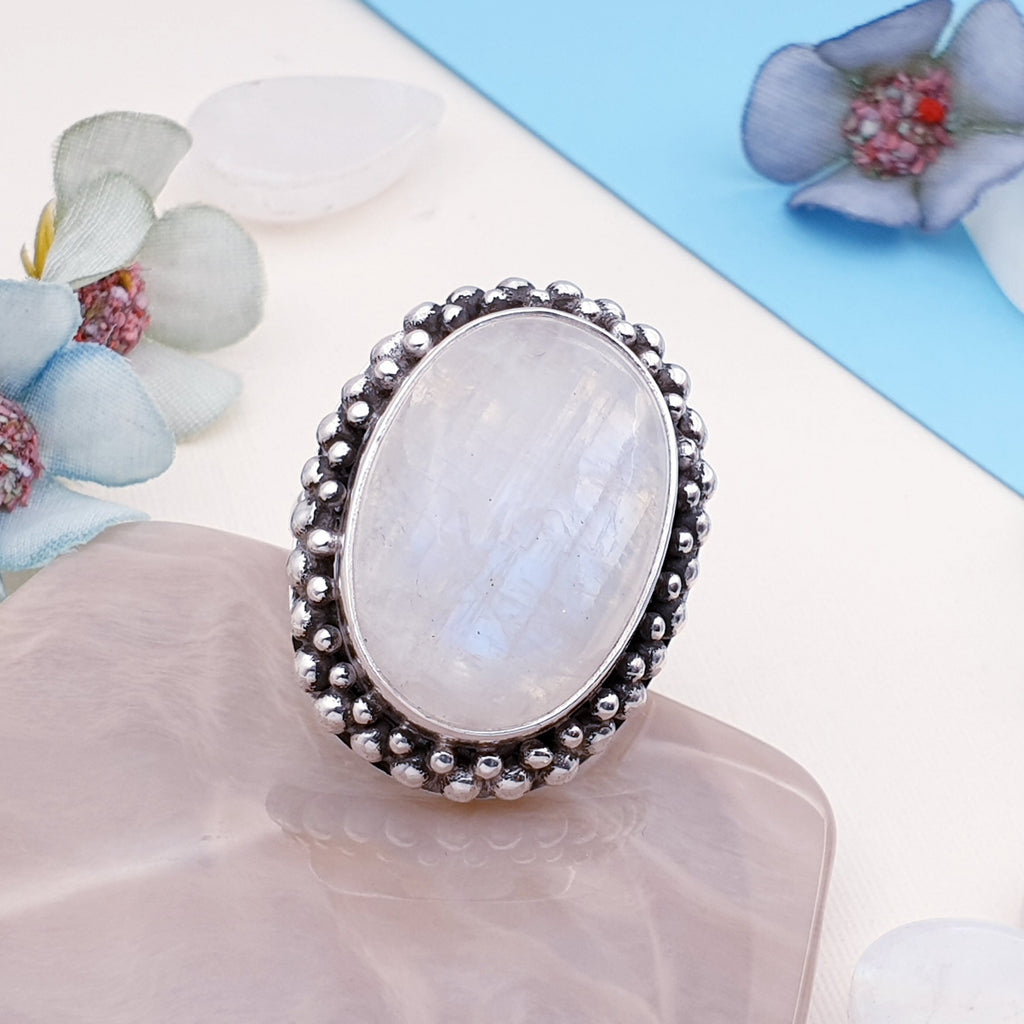 Moonstone Medium Oval Boho Ring - Size Q