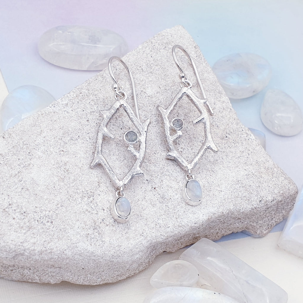 Moonstone Branch Earrings