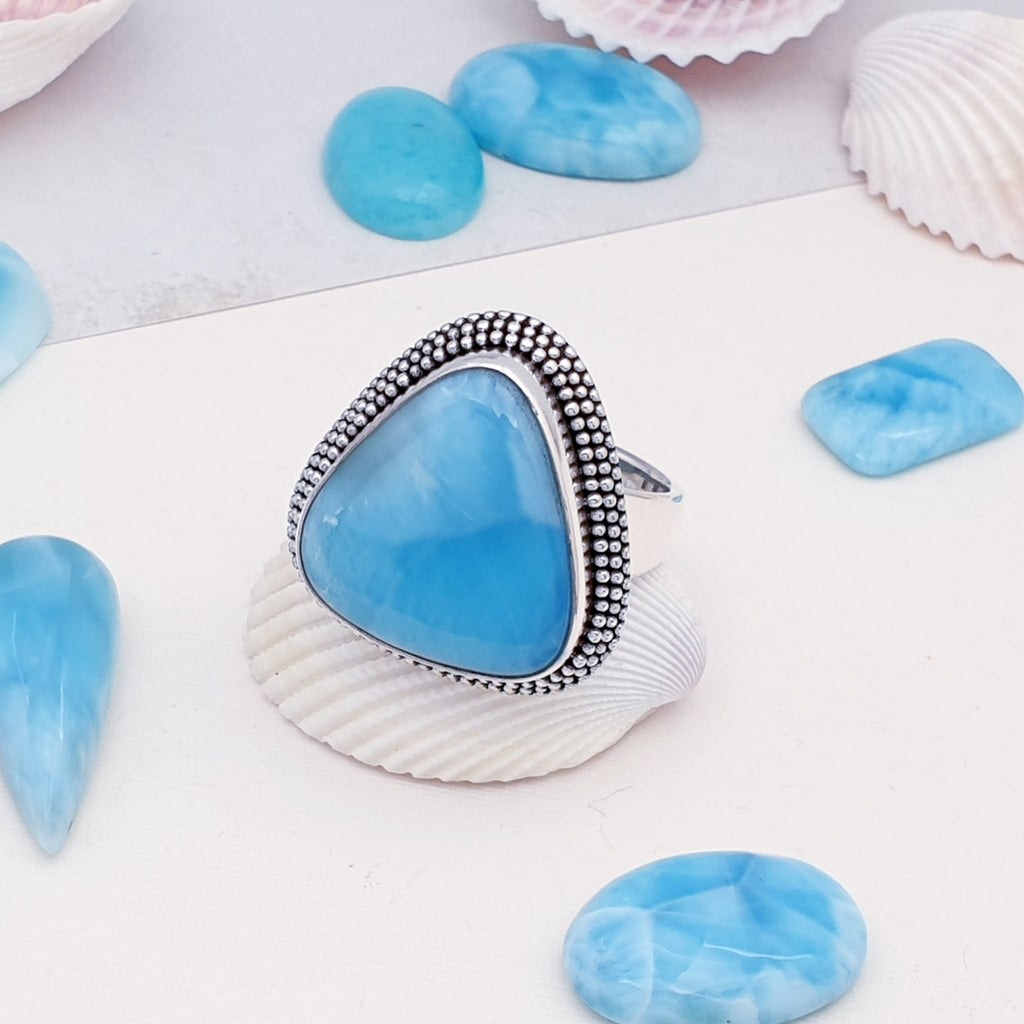 Larimar Boho Triangle Ring - Size O 1/2