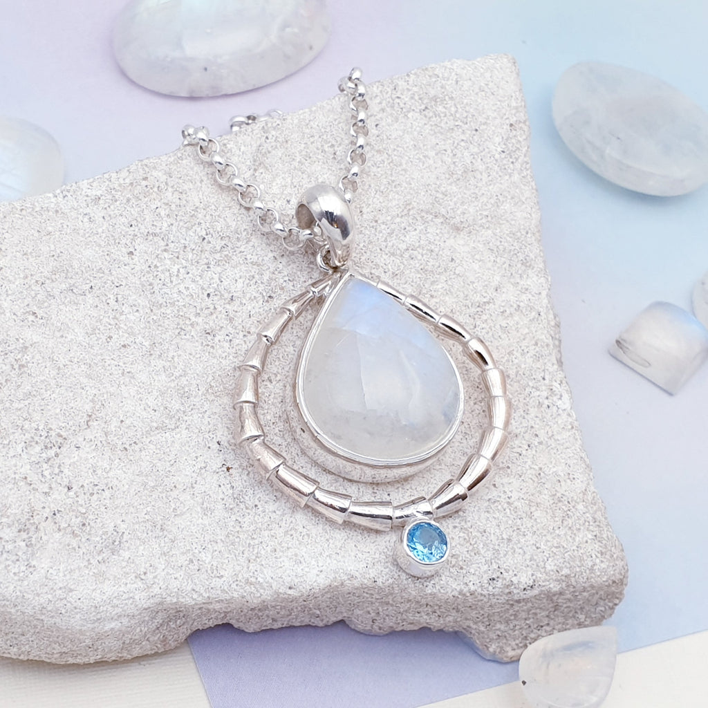 Moonstone and Blue Topaz Ningal Pendant