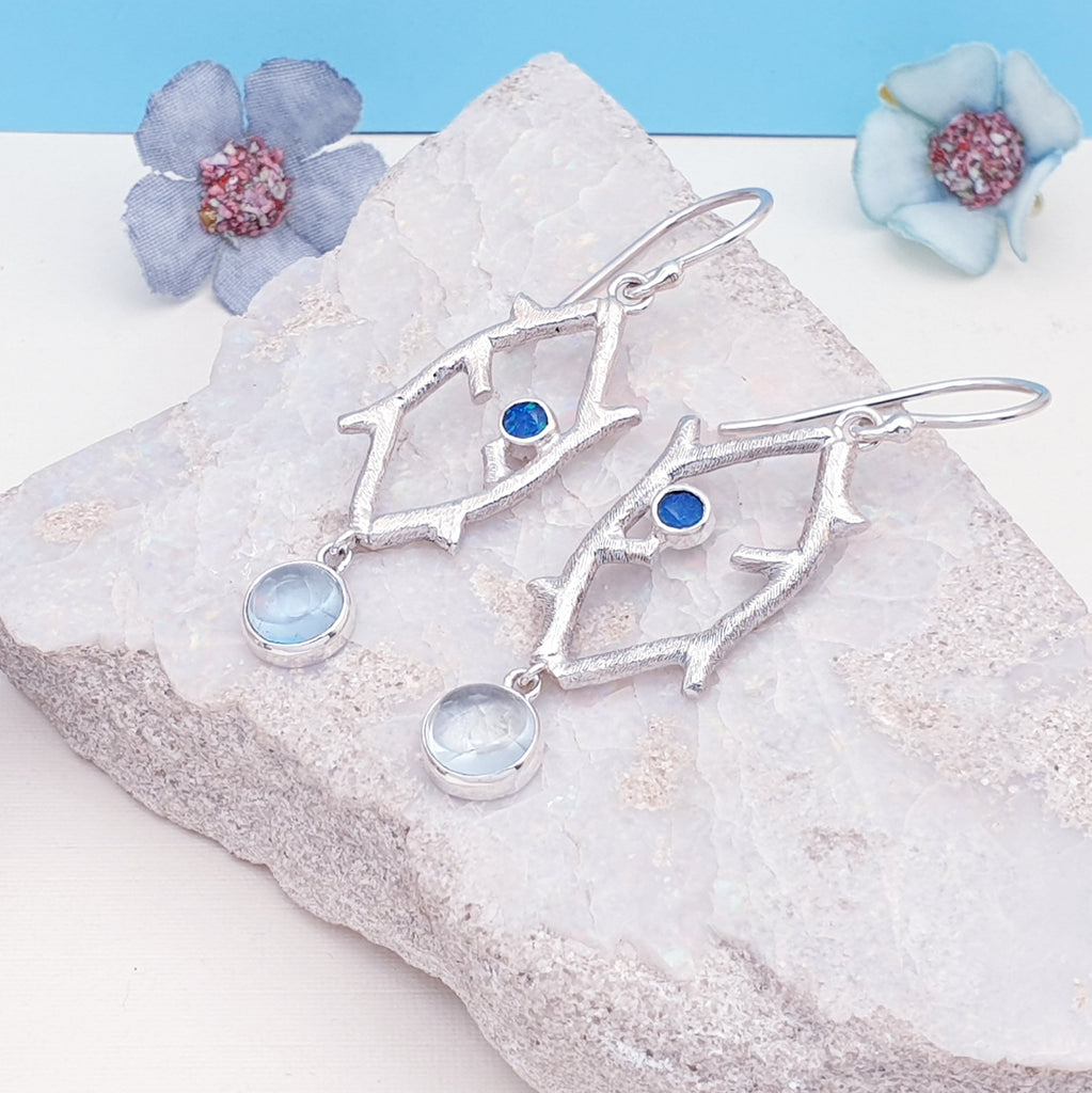 One-off Aquamarine and Opal Branch Earrings