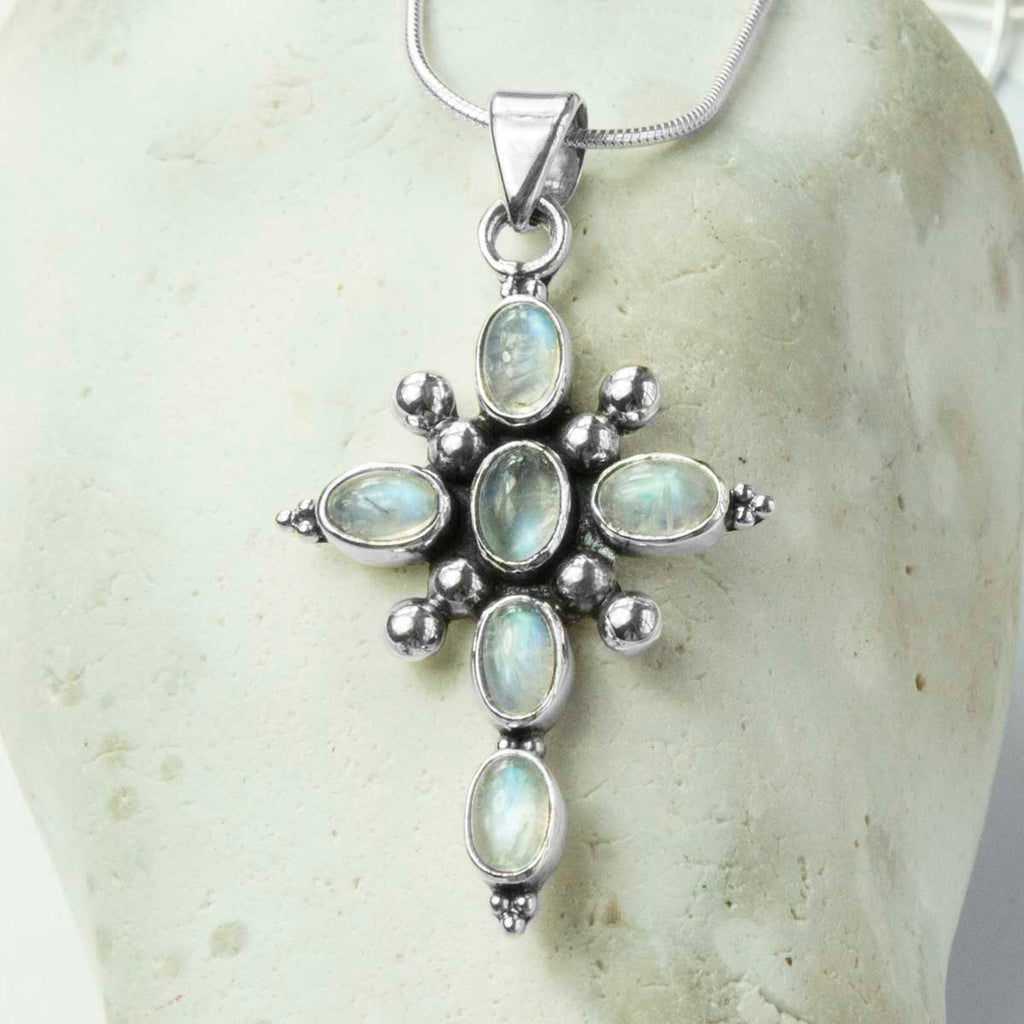 Moonstone Vintage Cross Pendant