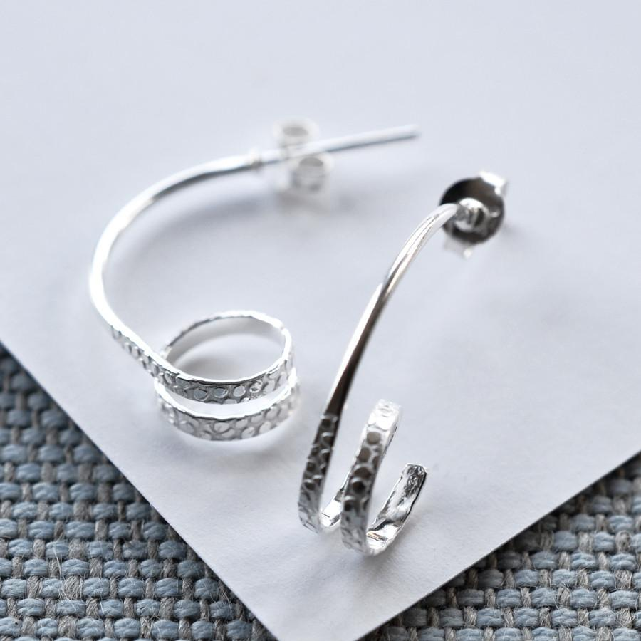 Silver Spiral Stud Earrings