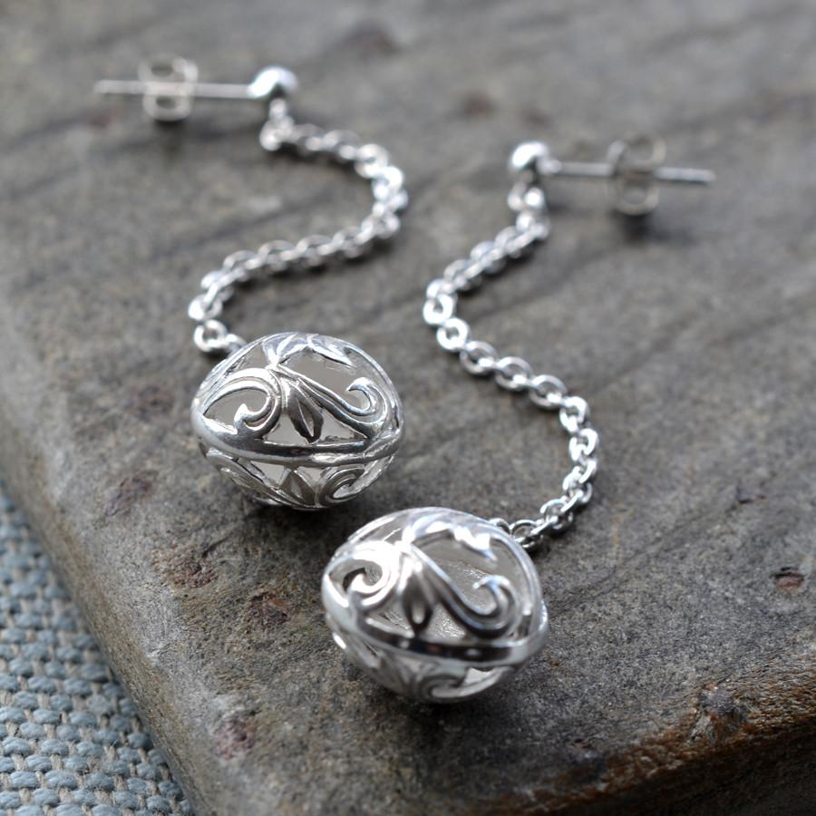 Silver Orb Earrings
