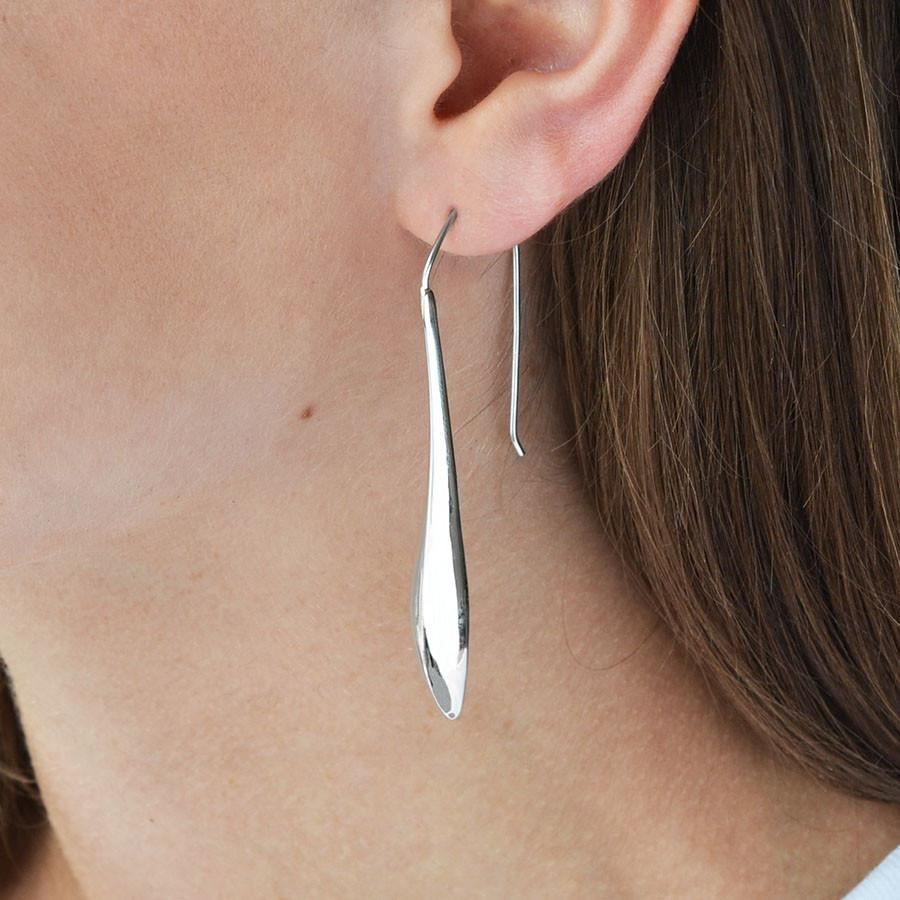 Silver Long Raindrop Earrings