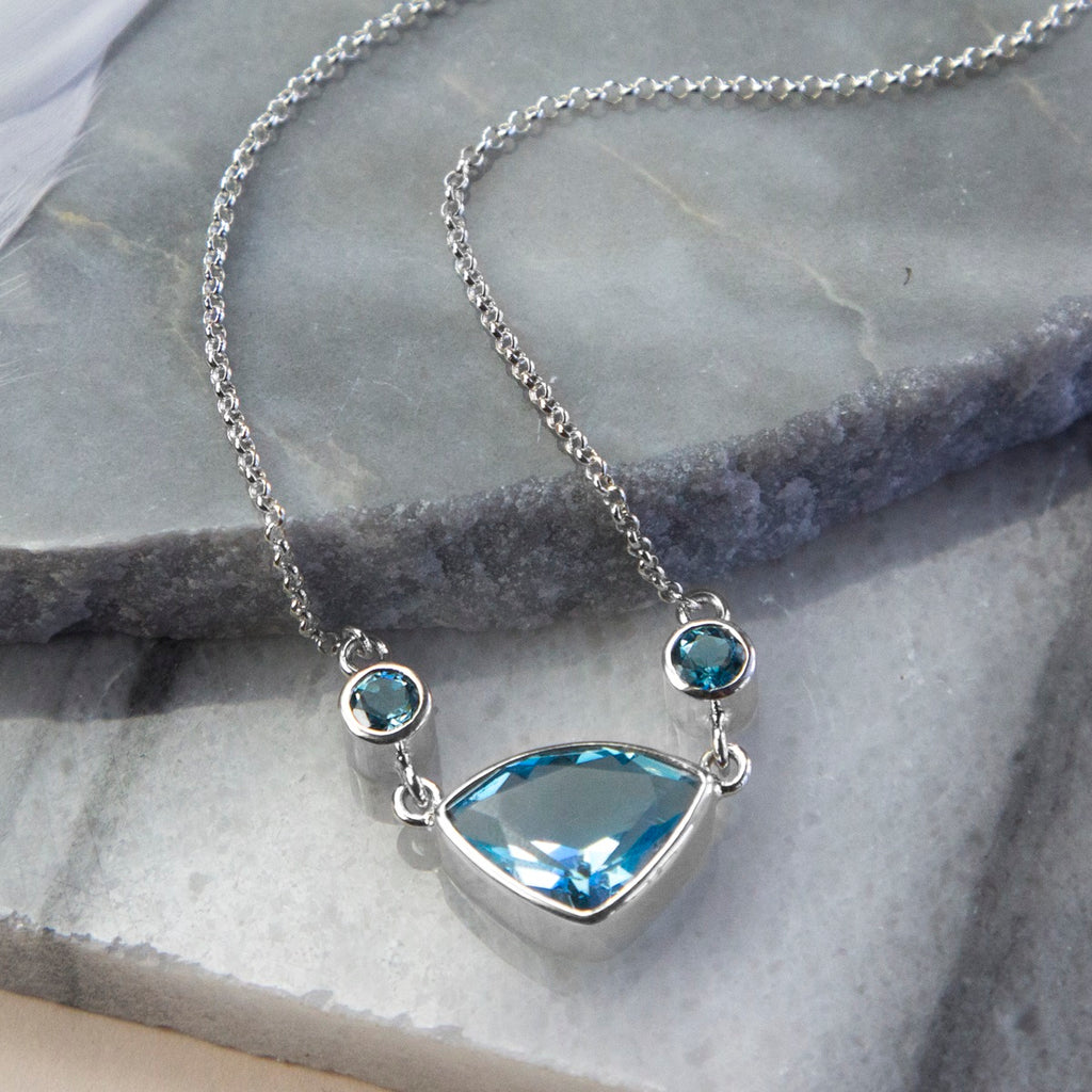 Swiss Blue Topaz Trillion Necklace