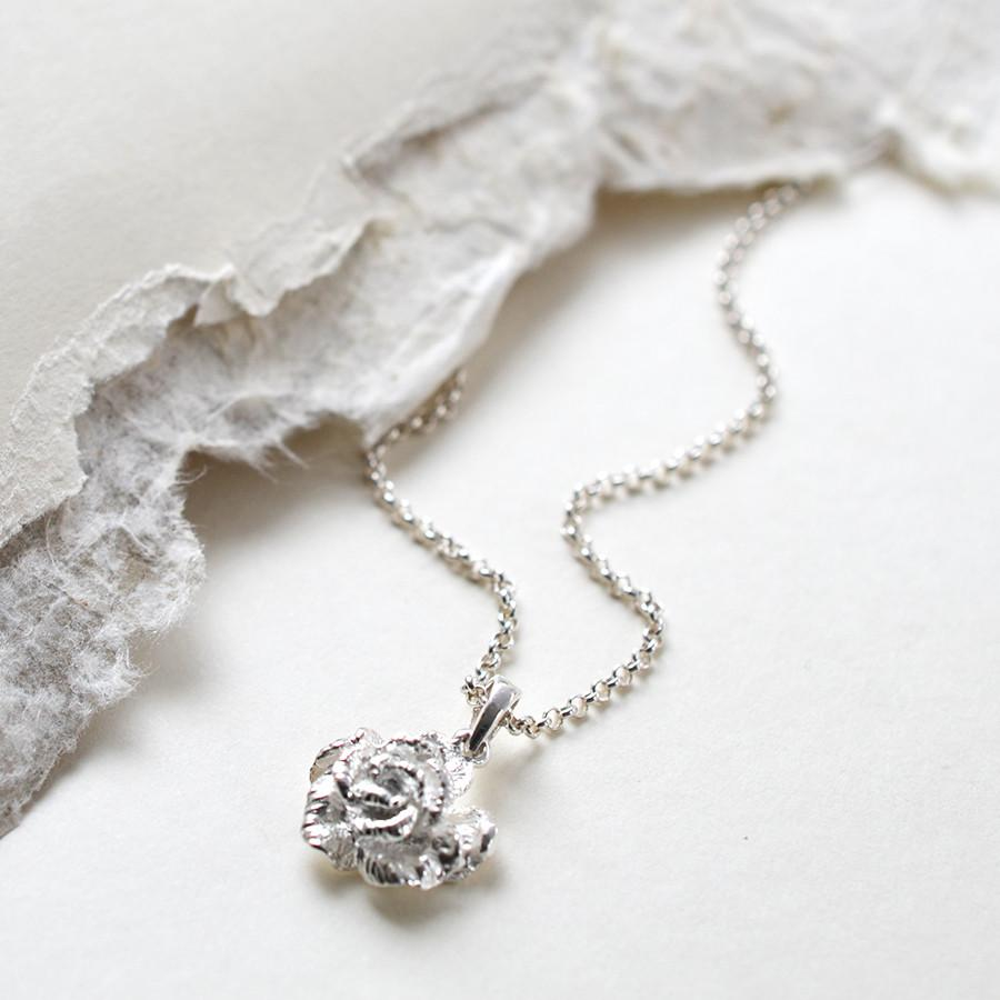 Silver Carnation Necklace