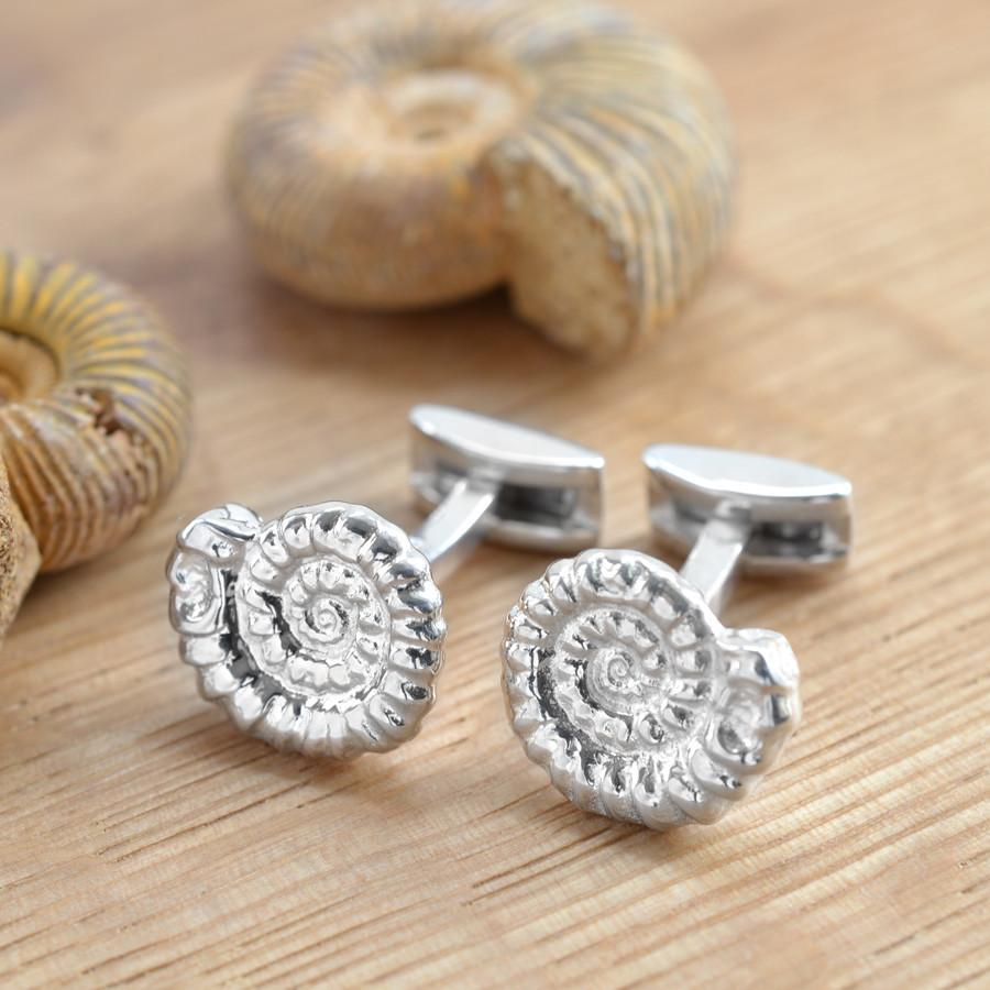 Silver Ammonite Cufflinks