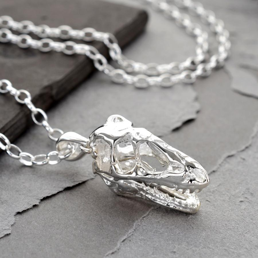 Silver T Rex Skull Necklace