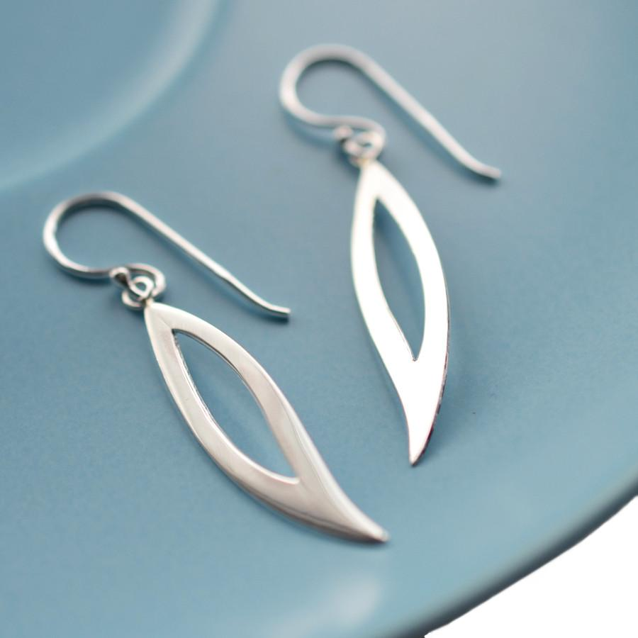 Silver Abstract Raindrop Earrings