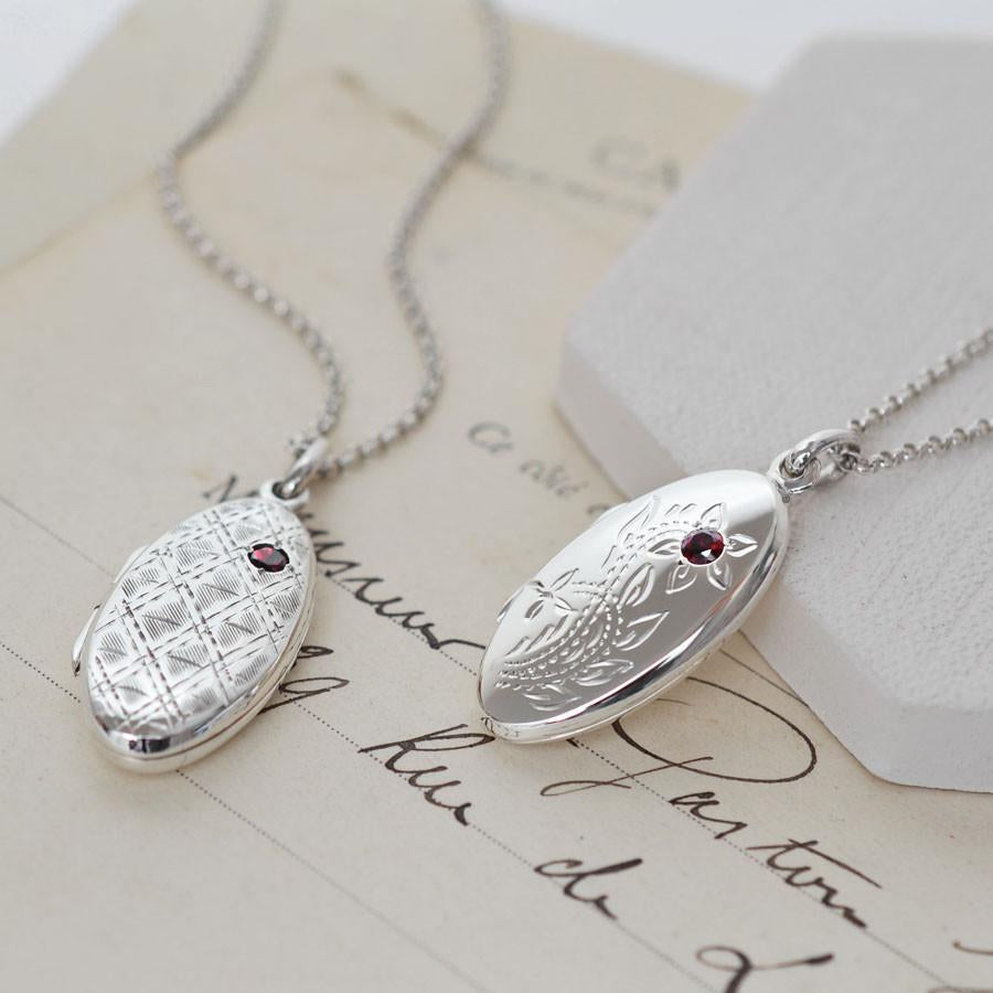 Silver Garnet Oval Locket