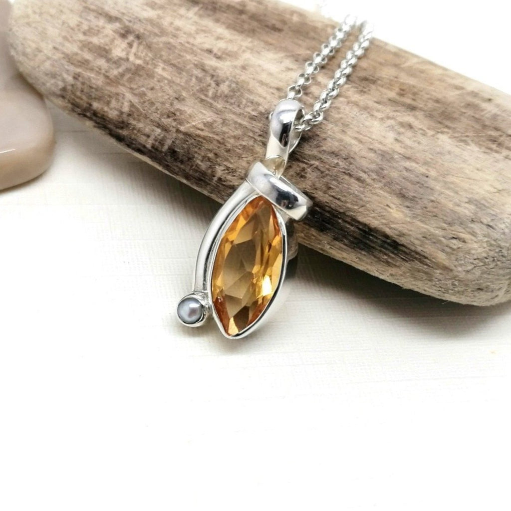 Citrine and Pearl Dainty Tear Drop Pendant