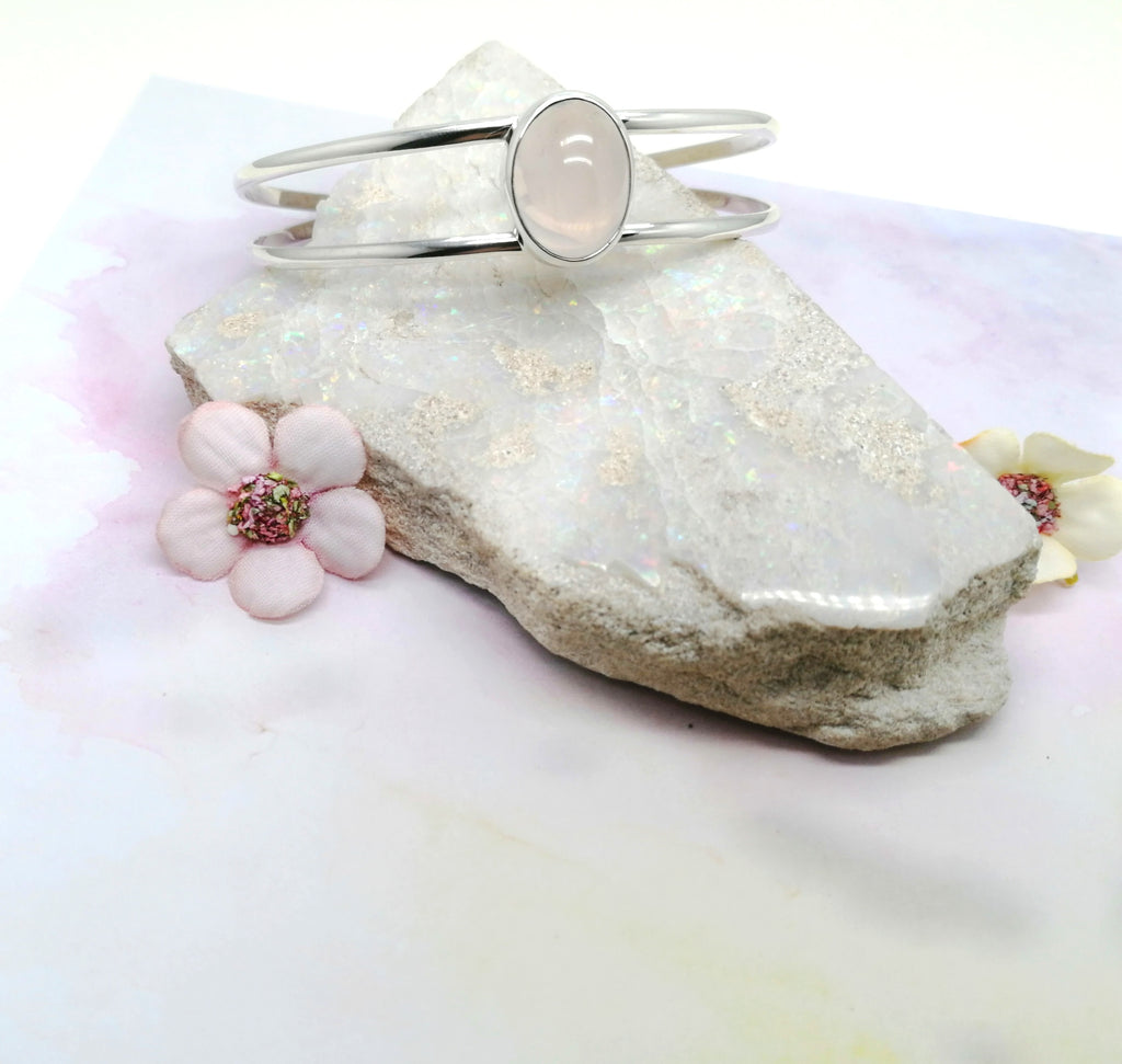Rose Quartz Stone Double Band Cuff