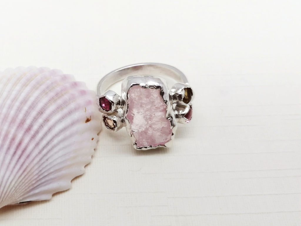 One-off Raw Kunzite and Tourmaline Rectangle Ring -Size N