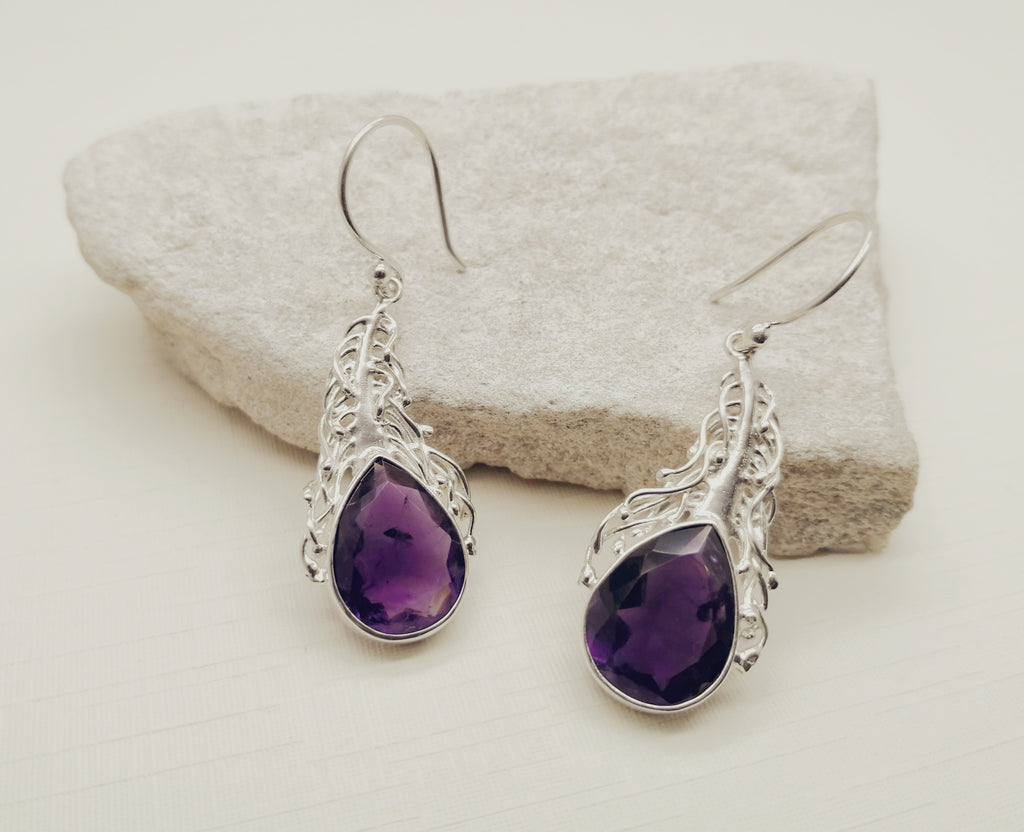 Amethyst Vine Tear Drop Earrings