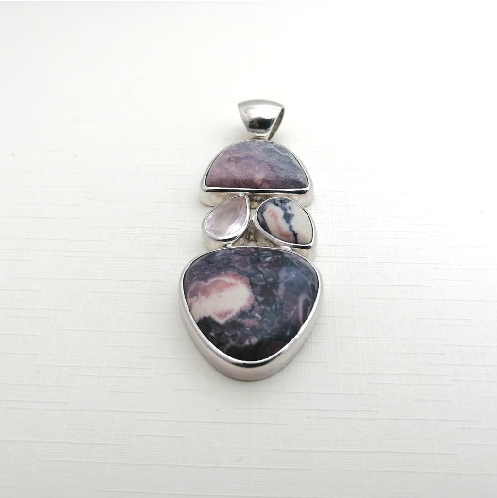 One-off Porcelain Jasper and Rose Quartz Totem Pendant
