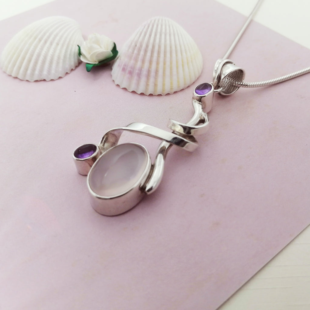 One-off Rose Quartz and Amethyst Ribbon Pendant