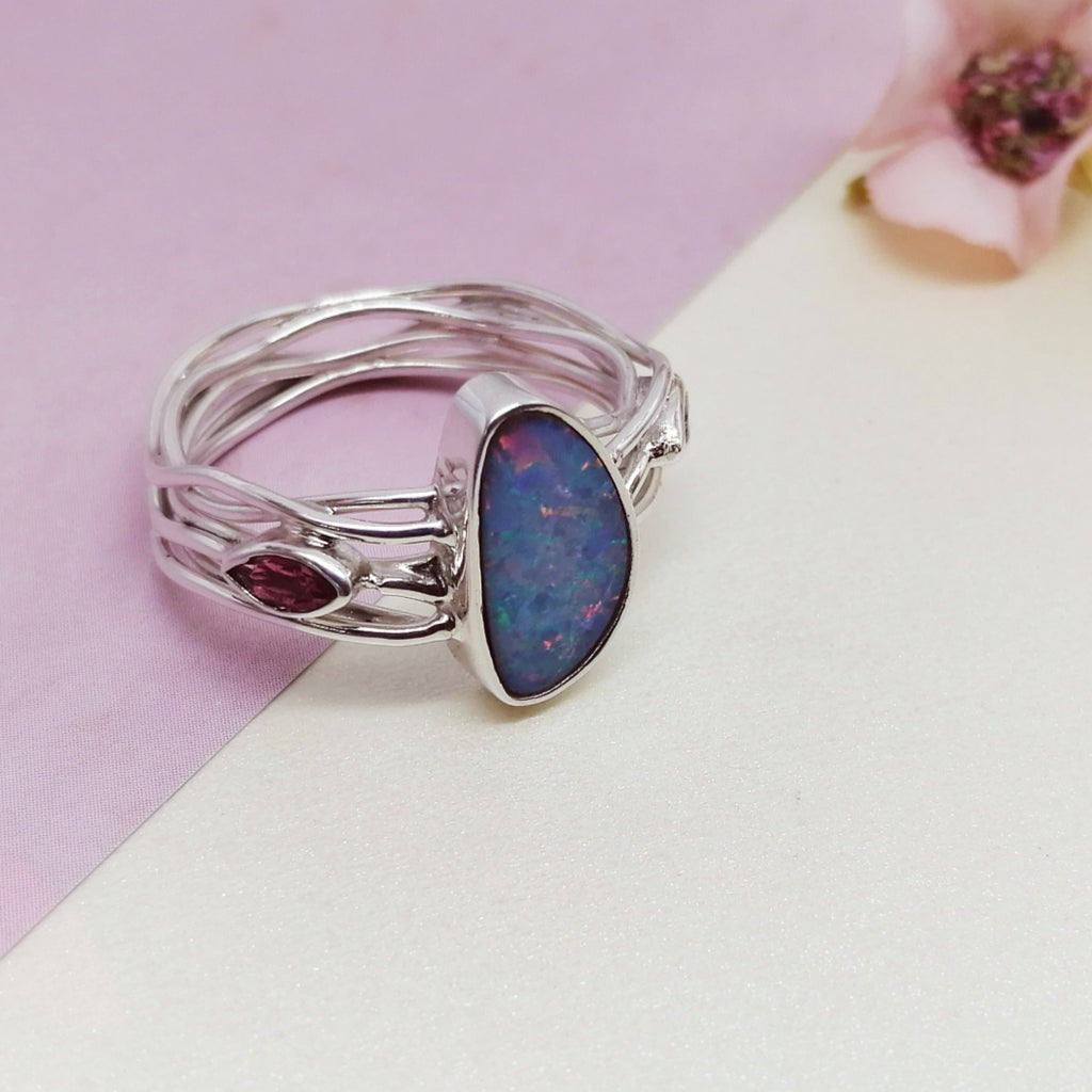 One-off Opal and Pink Tourmaline Intertwined Vines Ring - Size S1/2