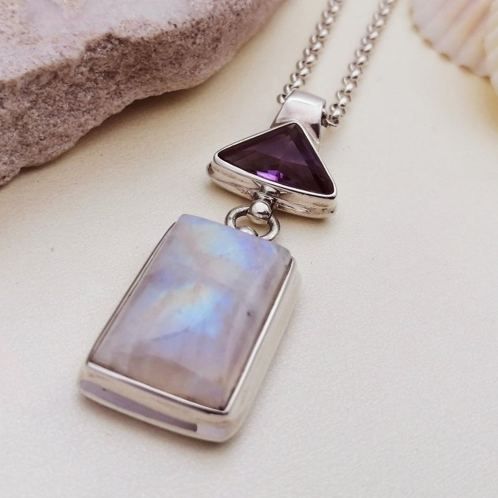 One-off Moonstone and Amethyst Iris Pendant