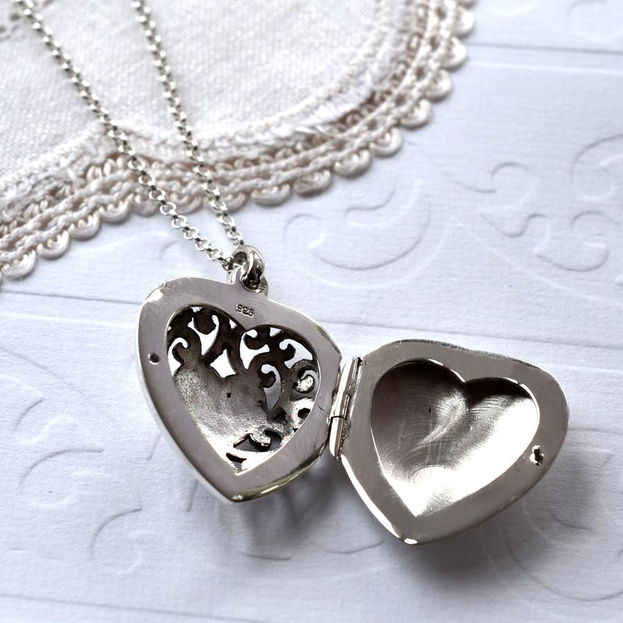 Silver Filigree Heart Locket